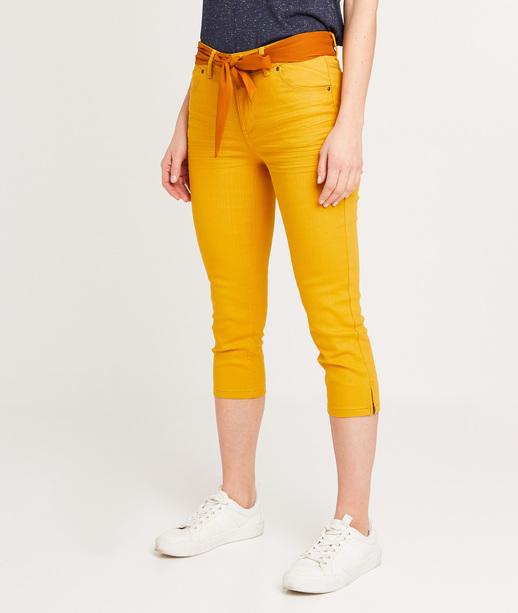 Corsaire en jean uni femme CURRY