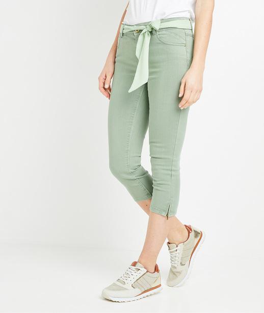 Corsaire en jean uni femme SAUGE