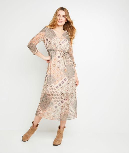Robe mi-longue imprimée femme BEIGE