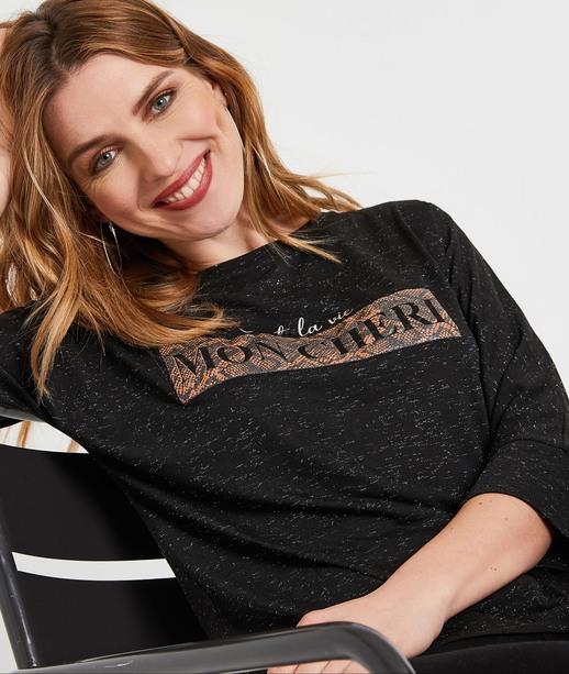 T-shirt noir à message femme NOIR