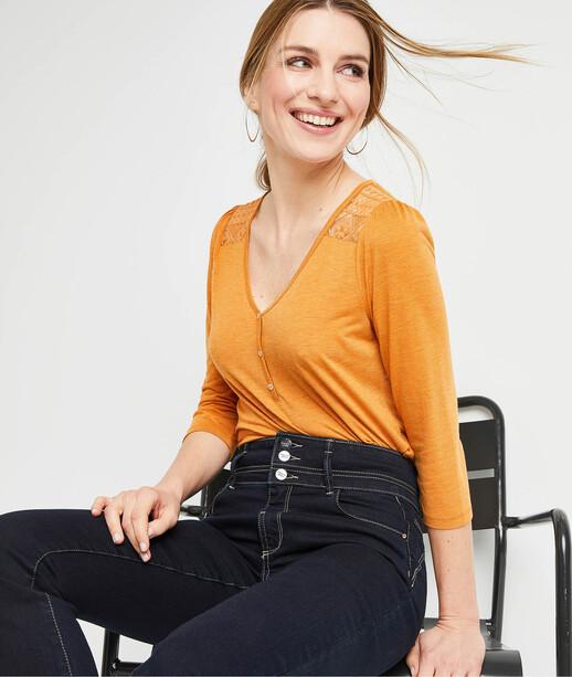 T-shirt safran avec dentelle femme SAFRAN