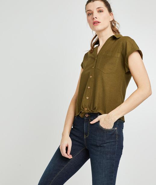 Chemise manche courte colorée femme KAKI