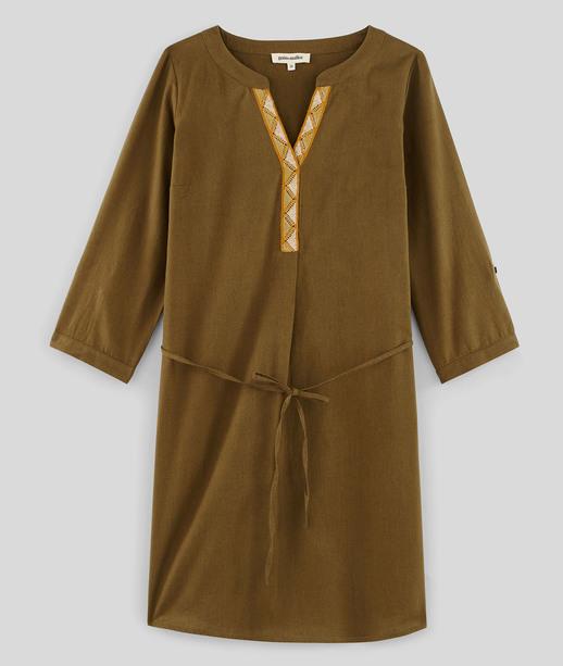 Robe en coton et lin femme KAKI