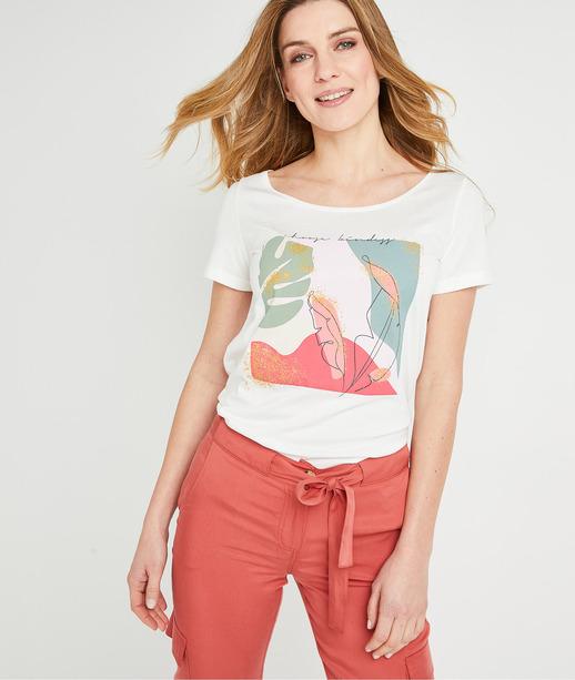 T-shirt print manches courtes femme BLANC CASSE
