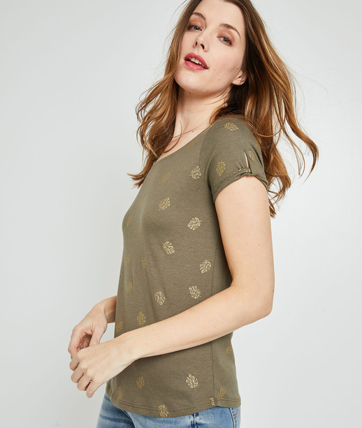T-shirt imprimé femme KAKI