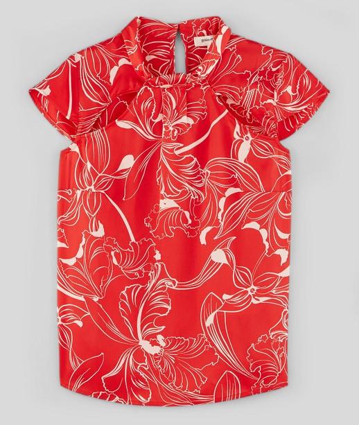 Blouse rouge imprimée femme ROUGE