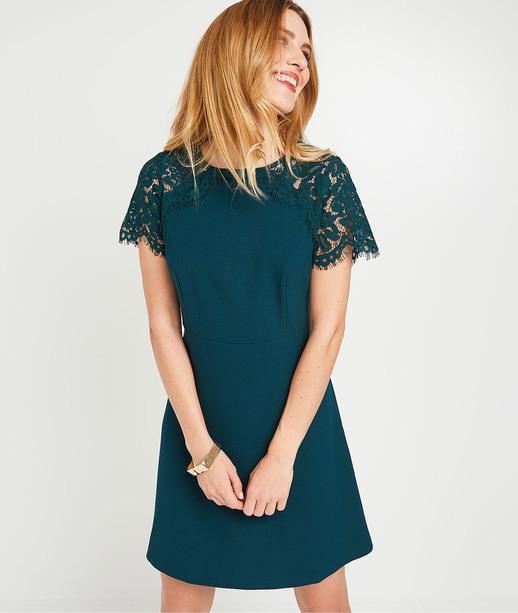 Robe verte avec dentelle femme VERT