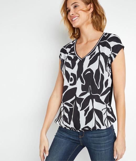 T-shirt imprimé noir et blanc femme NOIR
