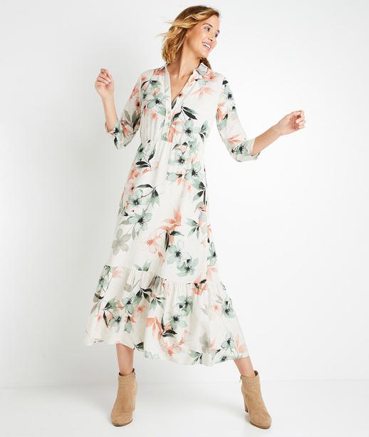 Robe longue en lin et viscose femme IMPRIME