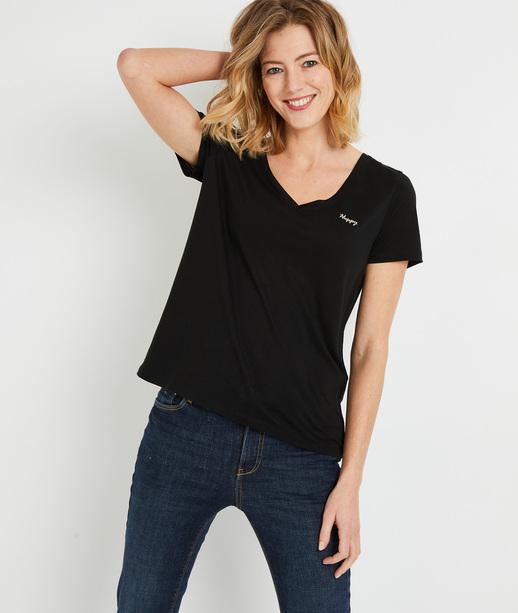 T-shirt en lyocell uni femme NOIR