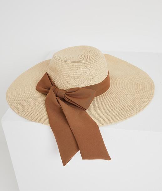 Chapeau de paille avec ruban femme NATUREL