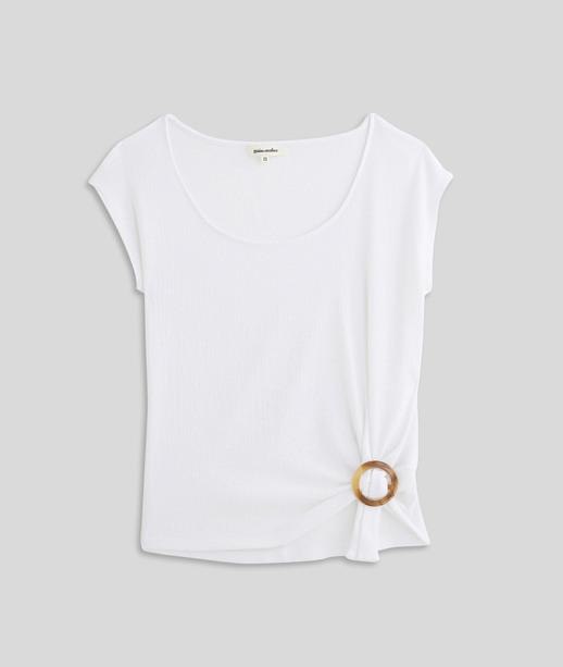 T-shirt maille froissée et boucle femme BLANC