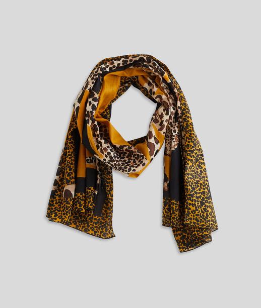 Foulard en coton imprimé léopard femme JAUNE