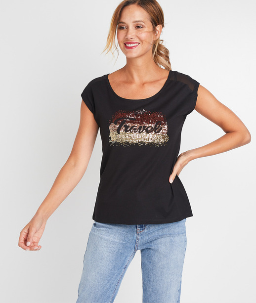 T-shirt à messageen sequins femme NOIR