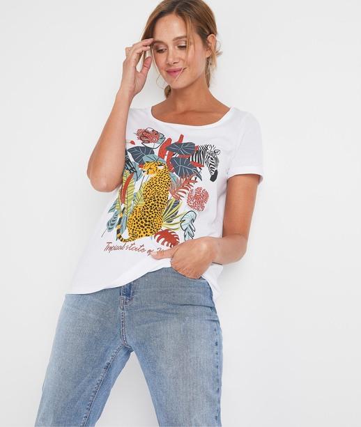 T-shirt imprimé animalier femme BLANC