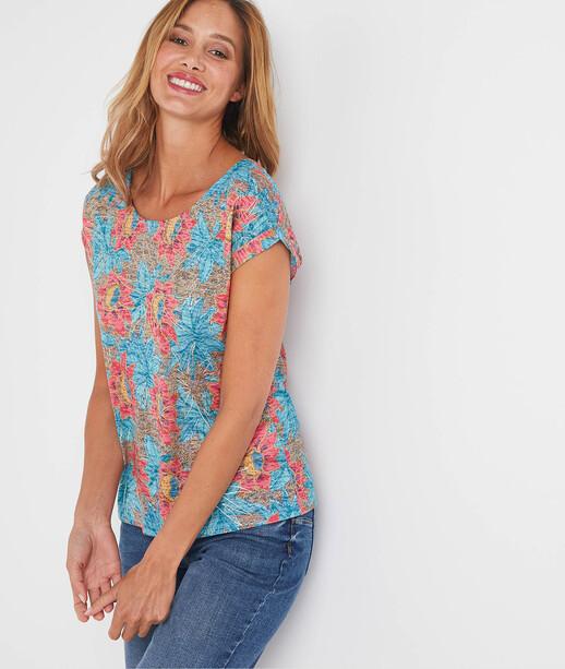 T-shirt manches courtes fantaisie femme TURQUOISE