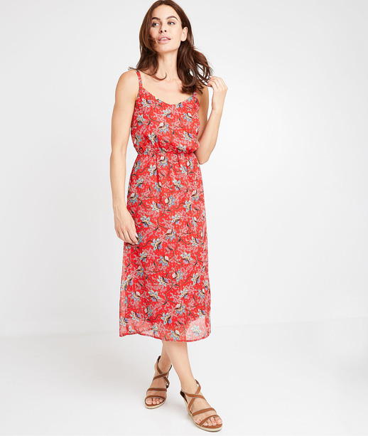 Robe rouge fleurie femme ROUGE