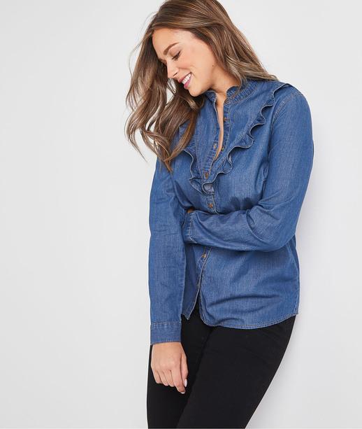 Chemise en jean à volants femme DARK STONE