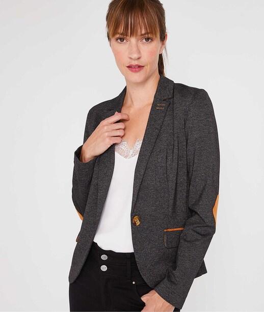 Veste tailleur en maille femme GRIS