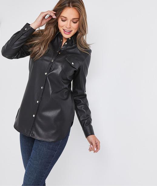 Surchemise en simili-cuir noir femme NOIR