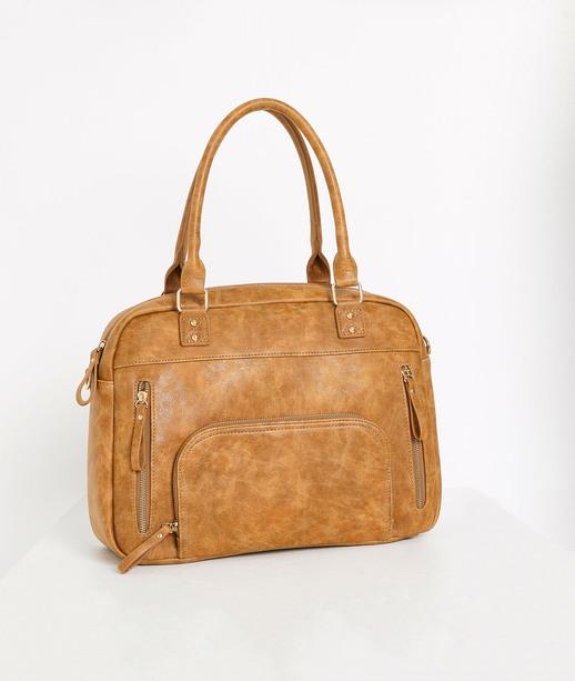 Grande sacoche zippée femme CAMEL
