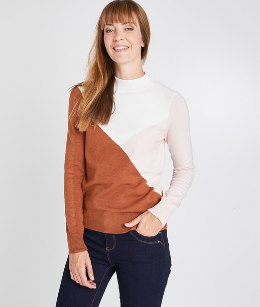 Pull color block col montant femme ECRU