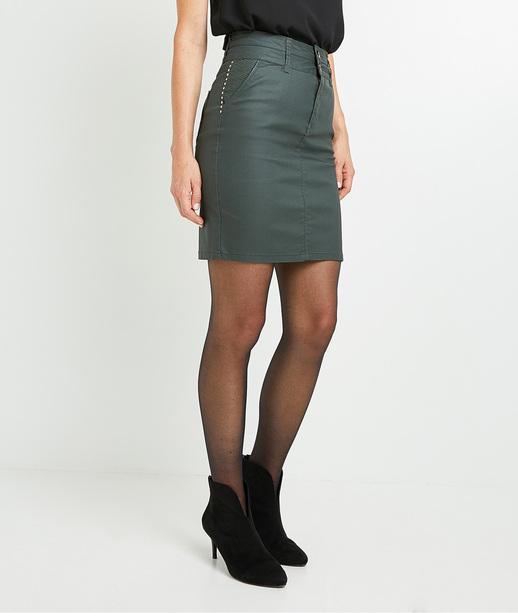 Jupe taille haute enduite femme VERT FONCE