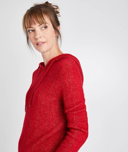Pull rouge à capuche femme ROUGE