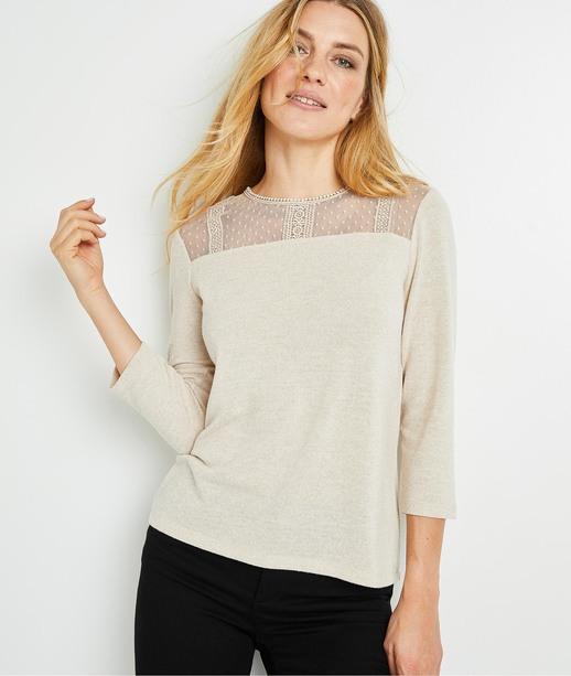 T-shirt doux avec résille brodée femme BEIGE CLAIR