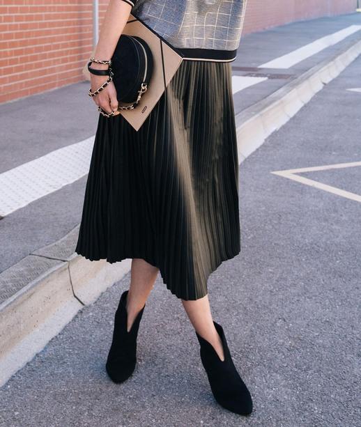 Jupe plissée en simili cuir femme NOIR