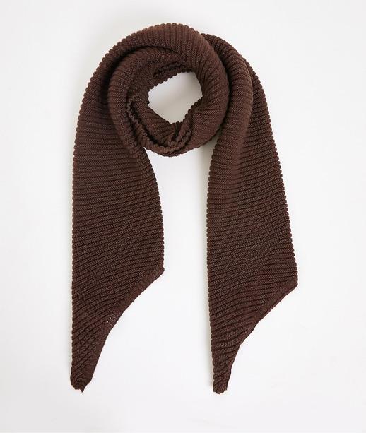 Echarpe unie en tricot femme CHOCOLAT
