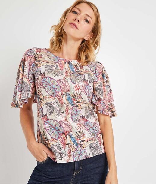 T-shirt imprimé tropical femme ECRU