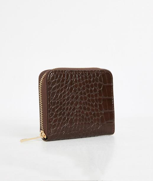 Portefeuille zippé effet croco femme MARRON