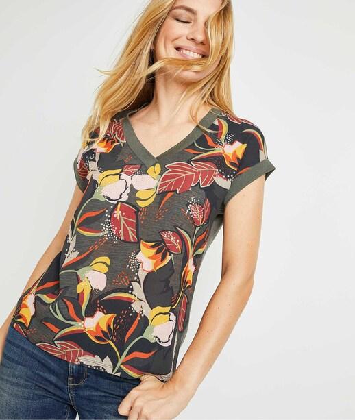 Tshirt imprimé femme KAKI