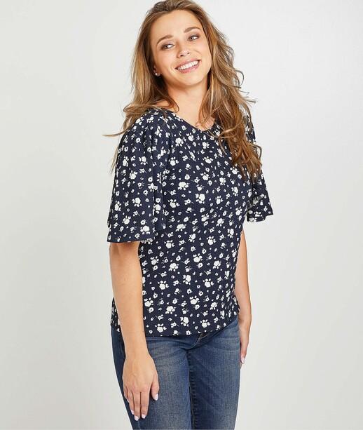 T-shirt marine fleuri femme MARINE