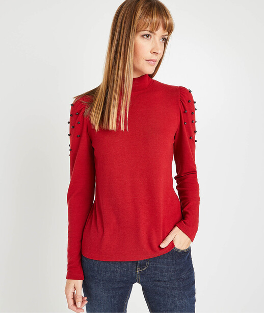 T-shirt rouge col montant femme ROUGE