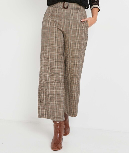 Pantalon large à carreaux femme CAMEL