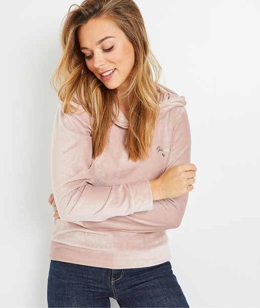 Sweat en velours rose femme ROSE