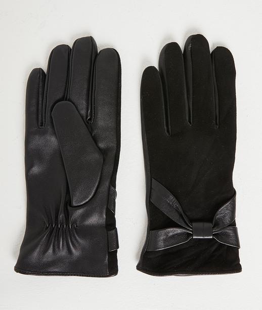 Gants bi-matières noirs femme NOIR