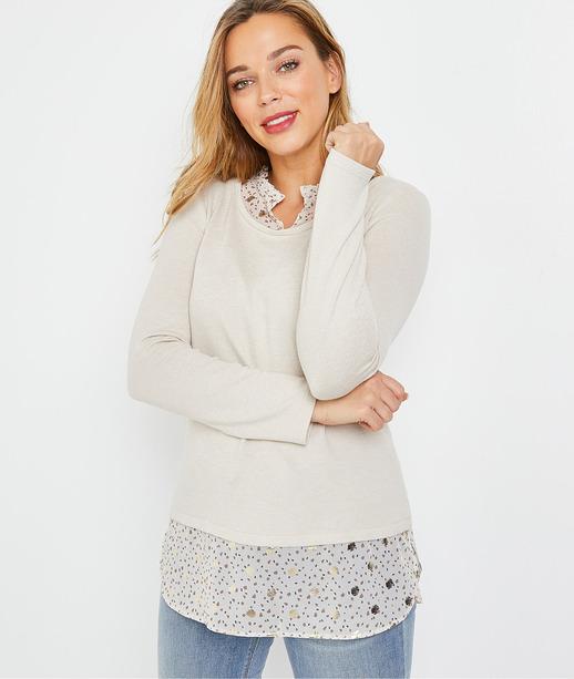 T-shirt beige superposé femme BEIGE