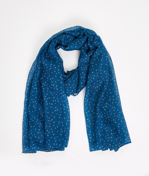 Foulard léger motif étoiles femme BLEU
