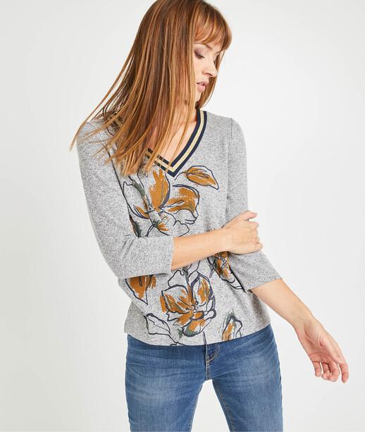 T-shirt en maille imprimé fleurs femme GRIS