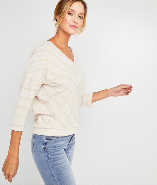 T-shirt beige à chevrons femme BEIGE
