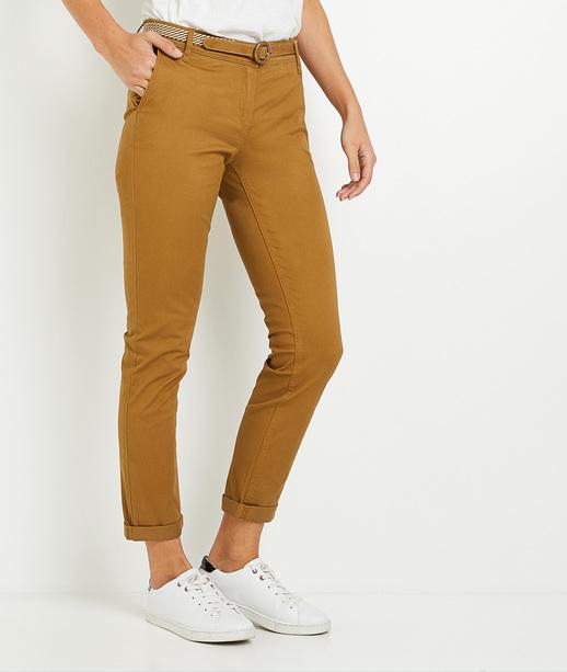 Pantalon chino uni femme BRONZE