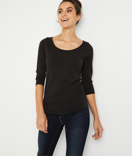 T-shirt basique uni en coton femme NOIR