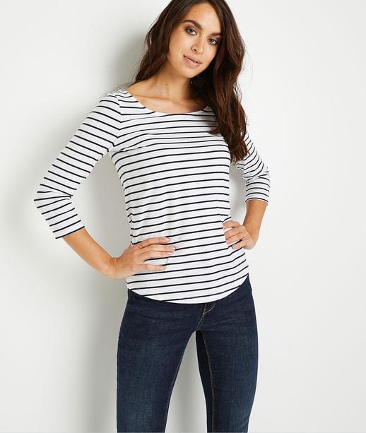 T-shirt basique rayé en coton femme BLANC