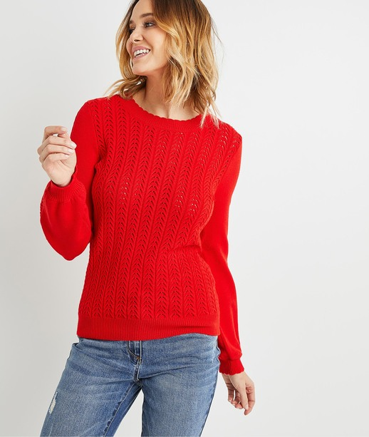 Pull rouge manches bouffantes femme ROUGE