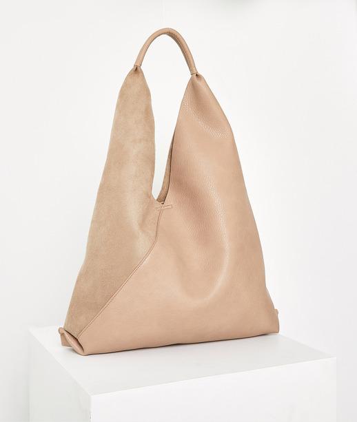 Grand sac bi matière beige femme BEIGE