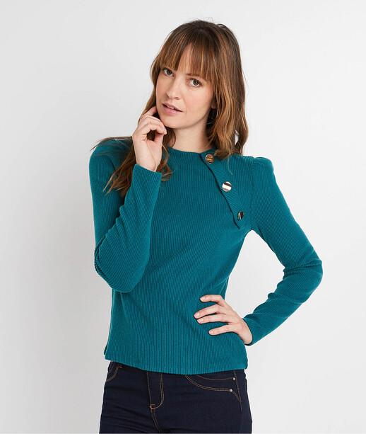T-shirt manches longues à boutons femme VERT