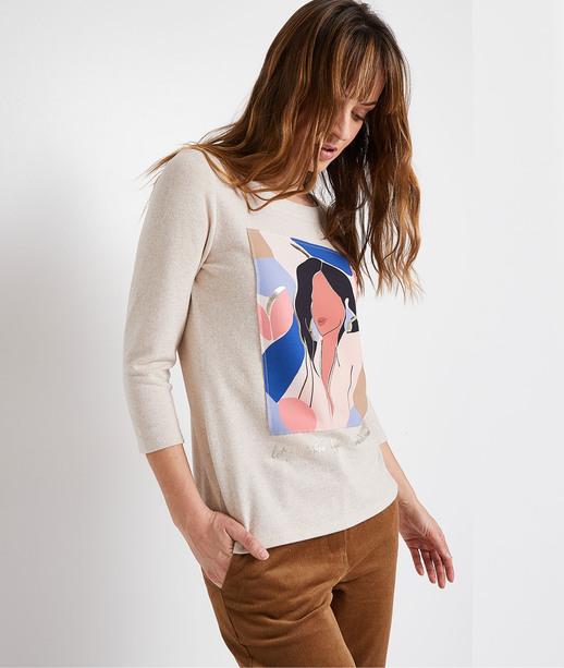 T-shirt manches 3/4 print visage femme BEIGE